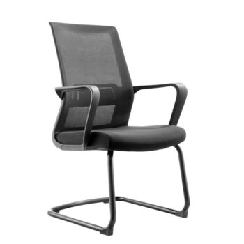 Посетителски стол RFG Smart M, дамаска и меш, черна седалка, черна облегалка, 2 броя в комплект image
