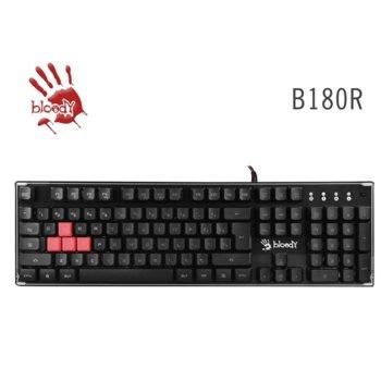 Клавиатура A4tech Bloody B180R, RGB LED подсветка, устойчива на заливане с течности, черна, USB image