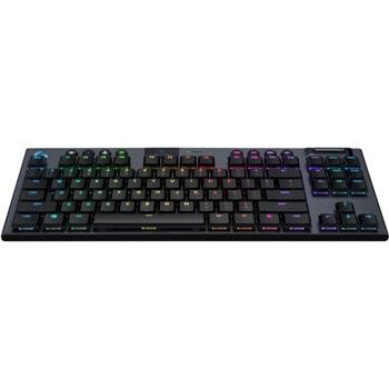Клавиатура Logitech G915 ТKL, безжична, геймърска, механична, GX Brown Clicky switches, RGB подсветка, нископрофилни клавиши, US layout, черна, USB, Wireless, Bluetooth image