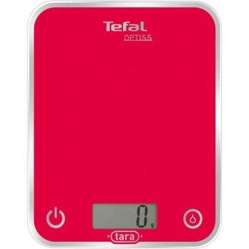 Кухненски кантар Tefal BC5003V1, Optiss, дигитален, ултра тънък стъклен дизайн, възможност за мерене в мл., ръчно и автоматично вкл/изкл, капацитет 5кг, червен image