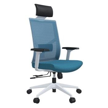 Директорски стол RFG Snow HB, дамаска/меш, пластмасова база, коригиране височина, лумбална опора, облегалка за глава, заключване в позиция, светлосин image