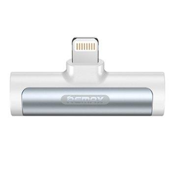Преходник Remax Smooth RL-LA03, от Lightning(м) към 3.5mm аудио жак + Lightning(ж), бял/черен image