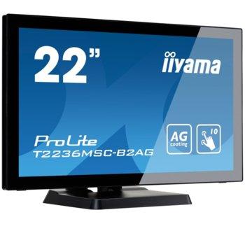 """Монитор Iiyama Prolite T2236MSC-B2AG, 21.5""""(54.61 cm) VA панел, Full HD, Тъч, 8ms, 12000000:1, 250 cd/㎡, HDMI, DVI, VGA image"""