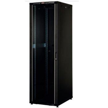 """Комуникационен шкаф Lande LN-CK32U6010-BL, 19"""", 32U, 600 x 1000 мм, стъклена врата, LCD термометър, черен image"""