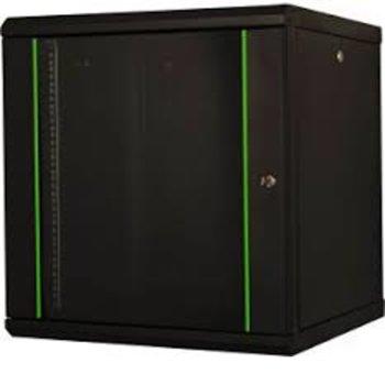 """Комуникационен шкаф Lande LN-PR20U6060-BL, 19"""", 20U, 600x600mm, монтиране на стена, стъклена врата, черен image"""