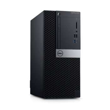 Настолен компютър Dell Optiplex 5070 MT (N011O5070MT_UBU), осемядрен Coffee Lake Intel Core i7-9700 3.0/4.7 GHz, 8GB DDR4, 256GB SSD, 5x USB 3.1 Gen 1, клавиатура, Linux image