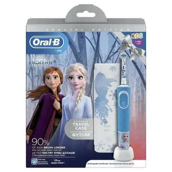 Ел. четка за зъби Oral B Vitality D100 Frozen в комплект с кутия за пътуване TC6/12/6, 2 глави за четка, таймер, синя image