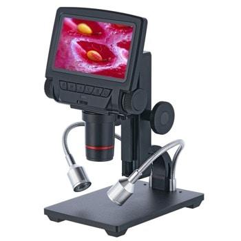 Микроскоп Levenhuk DTX RC3, увеличение до 260x, 5-инчов LCD дисплей, UV филтър, дистанционно управление, бутон за регулиране на яркостта, черен image