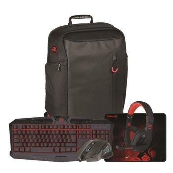 Комплект клавиатура, мишка, подложка, раница и слушалки Redragon S109, подсветка, USB, черни image