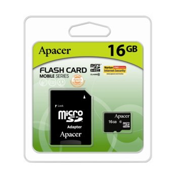 Карта памет 16GB microSDHC, Apacer, +Adapter, Class10 image