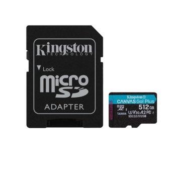 Карта памет 512GB MicroSDXC с адаптер, Kingston Canvas Go! Plus, Class 10 UHS-I, скорост на четене 170MB/s, скорост на запис 90 MB/s image