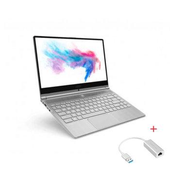 "Лаптоп MSI Modern 14 A10M (9S7-14B362-898)(сив) с подарък USB LAN адаптер, четириядрен Comet Lake Intel Core i5-10210U 1.6/4.2 GHz, 14.0"" (35.56 cm) Full HD IPS Anti-Glare Display, (HDMI), 8GB DDR4, 256GB SSD, 2x USB 3.2 Type-C, No OS image"