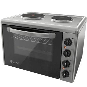 Готварска печка мини Елдом 203VFB-NEW, клас А, 38л. обем на фурната, двойно вентилирано термоустойчиво стъкло, 3400 W, инокс image