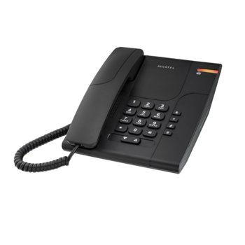 """Стационарен телефон Alcatel Temporis 180, функция """"свободни ръце"""", бутон """"mute"""", монтаж на стена, черен image"""