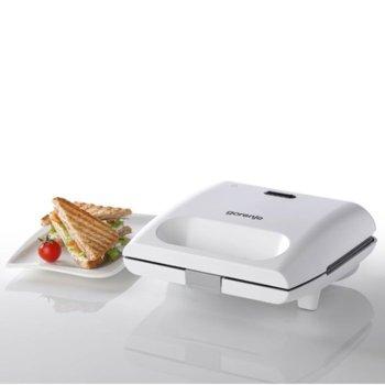 Тостер за сандвичи Gorenje SM701GCW, незалепващо покритие, лесно печене, студени дръжки, 700 W image
