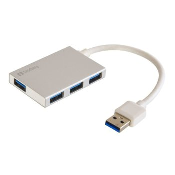 USB Хъб Sandberg 133-88, 4x USB A(ж), USB 3.0, сив image