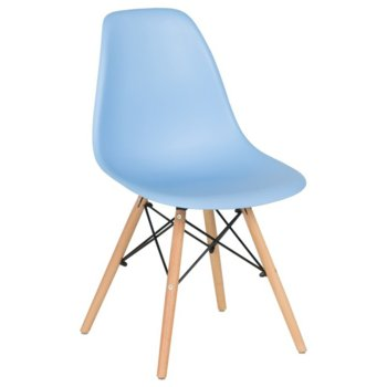 Трапезен стол Carmen 9957, крака от бук и метални подсилващи елементи, син image