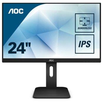 """Монитор AOC 24P1, 23.8""""(60.45 cm) IPS панел, Full HD, 5ms, 50M:1, 250 cd/m2, DisplayPort, HDMI, DVI, VGA image"""