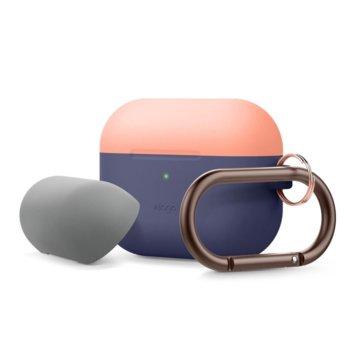Калъф за слушалки Elago Duo Hang Silicone EAPPDH-JIN-PEMGY, за Apple AirPods Pro, силиконов, тъмносин-оранжев image