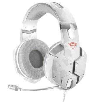 Слушалки Trust GXT 322W, микрофон, гейминг, USB, бял (камуфлаж) image