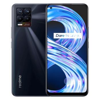 "Смартфон Realme 8 (черен), поддържа 2 sim карти, 6.4"" (16.26 cm) Super AMOLED дисплей, осемядрен Mediatek Helio G95 2x 2.05 GHz & 6x 2.0GHz, 6GB RAM, 128GB Flash памет (+ microSD слот), 64.0 + 8.0 + 2.0 + 2.0 & 16.0 Mpix камера, Android, 177g image"