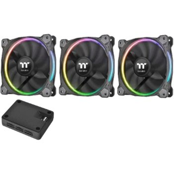Вентилатор 120mm Thermaltake Riing (CL-F049-PL12SW-A), USB 2.0, 1400rpm, RGB подсветка, 3бр image