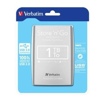 """Твърд диск 1TB Verbatim (сребрист), външен, 2.5"""", USB 3.0 image"""