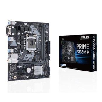 Дънна платка ASUS PRIME B365M-K, B365, LGA1151, DDR4, PCI-E (DVI&VGA), 6x SATA 6Gb/s, 1x M.2 Socket, 4 x USB 3.1 (Gen 1), micro-ATX image