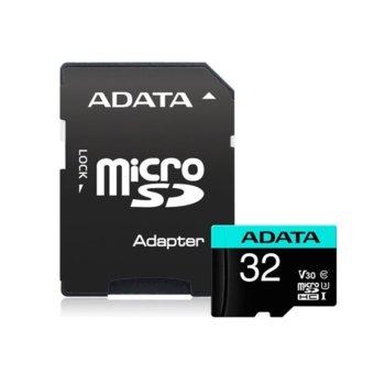 Карта памет 32GB microSDHC с адаптер, Adata Premier Pro, UHS-I U3, скорост на четене 100МB/s, скорост на запис 85MB/s image