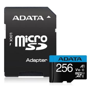 Карта памет 256GB microSDXC Adata Premier, Class 10 UHS-I, скорост на четене 100 MB/s, скорост на запис 25 MB/s image