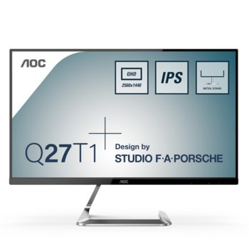 "Монитор AOC Q27T1, 27"" (68.58 cm) IPS панел, WQHD, 5 ms, 50000000:1, 350 cd/m2, DisplayPort, HDMI image"
