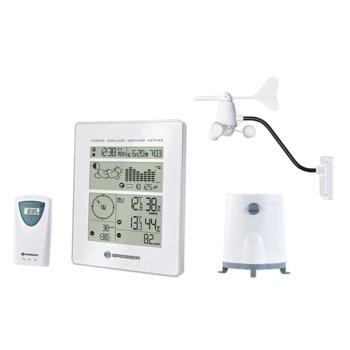Електронна метеостанция Bresser RC, радио-контролирана, професионален външен датчик, измерва скороста и посоката на вятъра, дъждомер, анемометър, бяла image