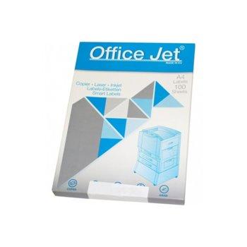 Етикети за принтери Office Jet, формат А4, размер 297x210mm, 1бр. на лист, с рязан гръб, опаковка от 100 листа, бели image