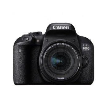 "Фотоапарат Canon EOS 800D(черен) в комплект с обективи Canon EF-S 18-55mm IS STM и EF-S 10-18mm f/4.5-5.6 IS STM, 24.2 Mpix, 3.0"" (7.62 cm)TFT сензорен дисплей, Wi-Fi, HDMI mini, USB, SDXC/SDHC/SD слот image"
