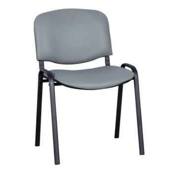 Посетителски стол Carmen 1131 LUX, еко кожа, прахово боядисан, светлосив image
