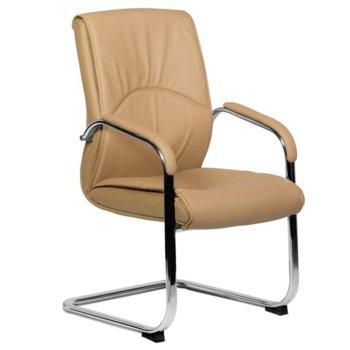 Посетителски стол Carmen 6040, еко кожа, подлакътници, бежов image