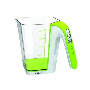 """Кухненски кантар Finlux FKS-72050, тип """"кана"""", дигитален, до 2 кг, LCD дисплей, бял-зелен image"""