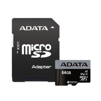 Карта памет 64GB microSDXC с адаптер, A-Data Premier Pro, Class 10 UHS-I, скорост на четене 100MB/s, скорост на запис 60MB/s image