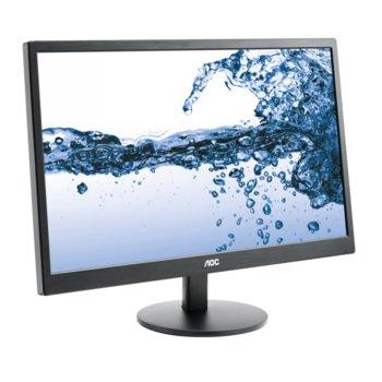 """Монитор AOC E2270SWDN, 21.5"""" (54.61 cm) TN панел, Full HD, 5ms, 20 000 000:1, 200 cd/m2, DVI, D-Sub image"""