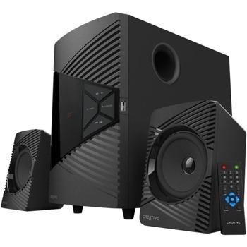 Тонколони Creative SBS E2500, 2.1, 30W (7.5W + 7.5W + 15W), Bluetooth 5.0, FM, AUX, USB, дистанционно, черни image