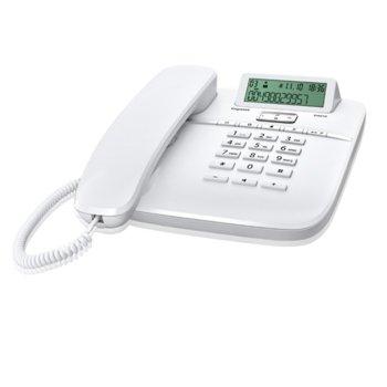Стационарен телефон Gigaset DA610, LCD черно-бял дисплей, бял image