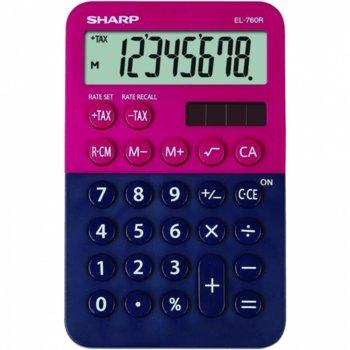 Калкулатор SHARP EL-338GN, 8 разряден дисплей, memory функция, червено-син image