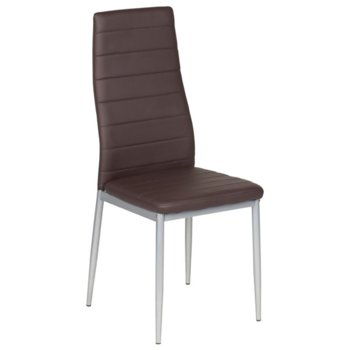 Трапезен стол Carmen 310, еко кожа, прахово боядисан, тъмно кафяв image