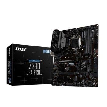 Дънна платка MSI Z390-A PRO, Z390, LGA1151, DDR4, PCI-Е (D-Sub&DP&DVI)(CFX), (CF), 6x SATA 6Gb/s, 1x M.2 sockets, 1x USB 3.1 Type-C, ATX image