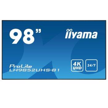 "Публичен дисплей Iiyama LH9852UHS-B1, 98""(248.92 cm) 4K UHD S-IPS LED, VGA, DVI, RCA, HDMI, DisplayPort, RS232, LAN, USB image"