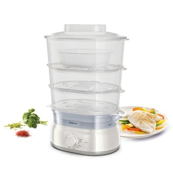 Уред за готвене на пара Philips Daily Collection HD9125/90, 900W, 9 литра, съд за ориз/супа, инфузер за подправки и аромати, контейнер за яйца, бял image