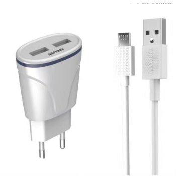 Зарядно устройство Kingleen от контакт към 2x USB A(ж), 5V/2.1, с кабел от USB A(м) към USB C(м), бяло image