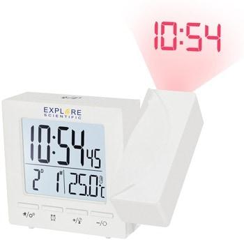 Часовник/будилник Explore Scientific 75897, цифров прожекционен часовник с термометър и будилник, проекция на 180° въртяща се, двойна функция за аларма и отлагане, бял image