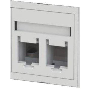 Лицев модул Tongrun, TG-745LAN, 45x45 за 2xRJ45 - бял image