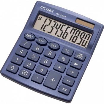 Калкулатор Citizen SDC-810NVE, 10-цифрен едноредов LCD дисплей, настолен, функция на паметта с 3 клавиша: MRC, M +, M-, автоматично изключване, син image